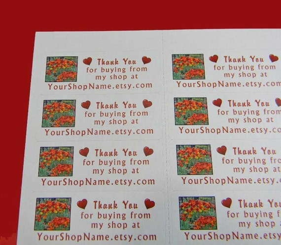 60 PERSONALIZED Thank You Labels. 2 Sheets of White 1-Inch Labels. COLOR. 2647