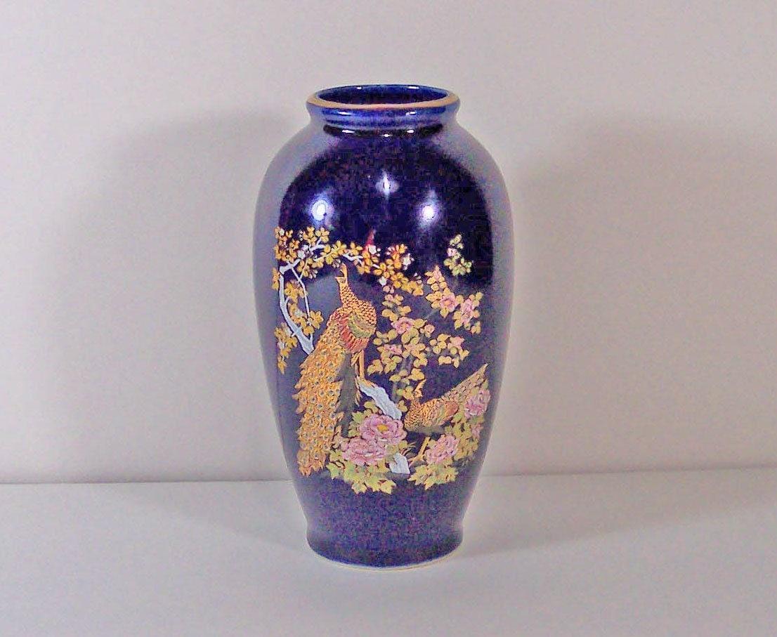 Dark Cobalt Blue Japanese Vase Or Urn Gold Peacocks In A