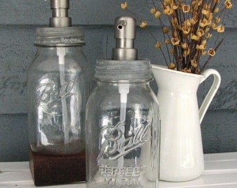 Mason Jar Quart Soap Dispenser with Stainless Steel Pump