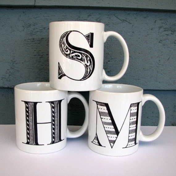 alpha mug customize with your initial by tickledpinkgoods on etsy. Black Bedroom Furniture Sets. Home Design Ideas
