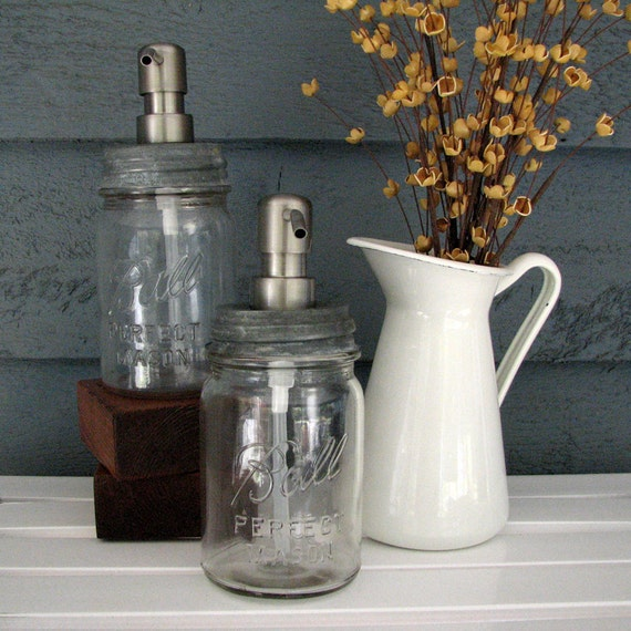 Mason Jar Pint Soap Dispenser with Stainless Steel Pump
