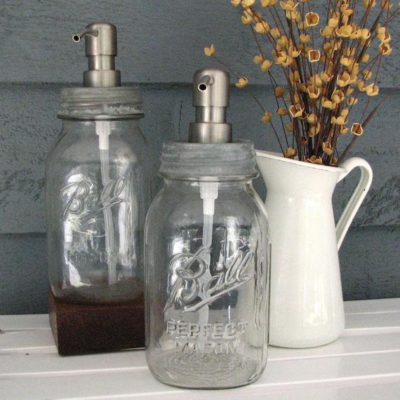Mason Jar Quart Soap Dispenser with Stainless Steel Pump