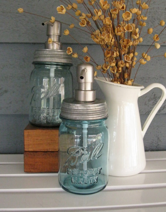 Mason Jar Soap Dispenser with Stainless Steel Pump - Blue Pint