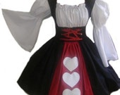 Queen of Hearts Alice in Wonderland Halloween Costume Dress Large L Black White Red with Heart Appliques