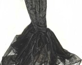 Gothic Goth Black Stretch Velvet and Organza Mermaid Hobble Skirt Custom Size Made to Measure including Plus Sizes