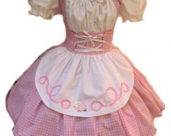 Halloween Costume Little Bo Peep Mary Had a Little Lamb Dress  Pink Gingham and White Womens Adults Girls Custom Size including Plus Sizes