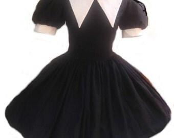 Gothic Lolita Dress Cute Wednesday Addams Goth Loli Dolly Dress Womens Custom Size Plus Size Clothing Cosplay Costume Halloween Black White