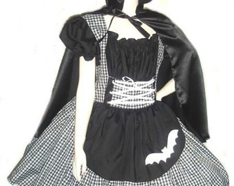 Gothic Little Red Riding Hood Halloween Costume Dress and Cape  Black Gingham Custom Size Made to Measure Plus Size Handmade Costume