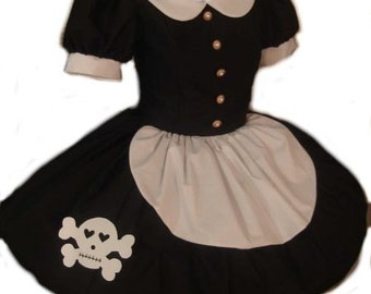 Black Dress with Skull Rag Doll Dress with Cute Skull Lolita Gothic Goth Loli Cosplay Halloween Costume Handmade Womens Adult Custom Size
