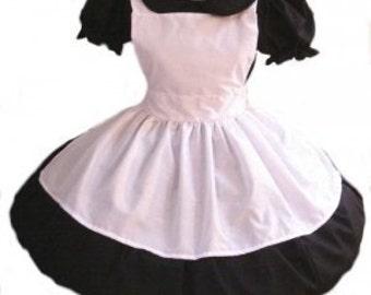Gothic Alice in Wonderland Costume Goth Lolita Loli Cosplay Dress and Apron Womens Adult Handmade Halloween Custom Size including Plus Sizes