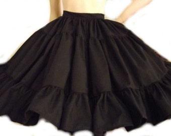 Gothic Lolita Skirt Full Gathered Ruffle Skirt Goth Loli Steampunk Black Custom Size Plus Size Made to Measure Cotton Fabric
