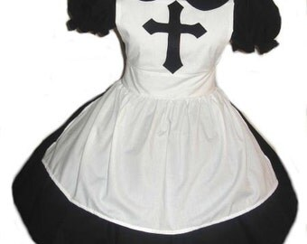 Goth Nun Dress and Apron Gothic Lolita Custom Size Made to Measure Plus Size Cosplay Costume Cotton Dress Handmade