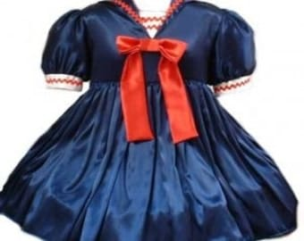 Cute Satin Sailor Dress Halloween Costume Navy Blue Red and White Custom Size including Plus Size Middy Collar Bows Womens Adult Girls