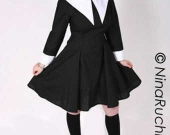 Gothic Lolita Dress Wednesday Addams Dress Aline Black with White Collar Custom Size including Plus Sizes Cosplay Womens Halloween Costume