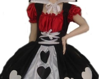 Queen of Hearts Costume Alice in Wonderland Dress & Collar Black White Red Costume Womens Adults Handmade Custom Size including Plus Size