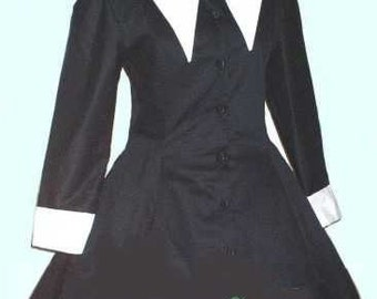 Goth Corset Jacket, Gothic Lolita Jacket, Lenore Black with White Collar Custom Plus Size Made to Measure