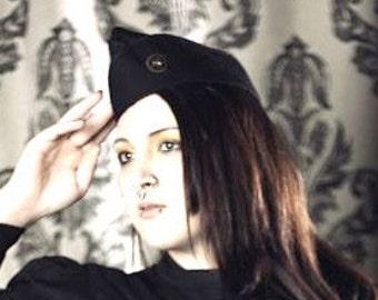 Steampunk Hat -  Military Cap - Steam Punk Hat - Black Cap - Flight Cap - Garrison Hat - Wedge Cap - Hat with Gear - Womens -  Mens - Unisex