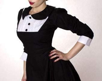 Gothic Lolita Black Aline Dress with Peter Pan Collar Long Sleeves Wednesday Aadams Womens Custom Made including Plus Sizes