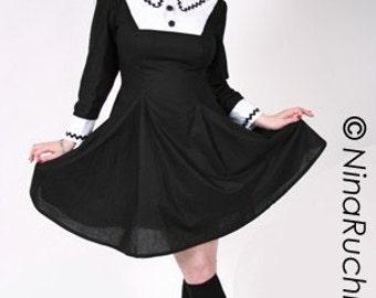 Gothic Lolita Cosplay Chii Dress Goth Loli Cute Kawaii Black and White A-line A Line Dress Cosplay Costume Custom Size Plus Size
