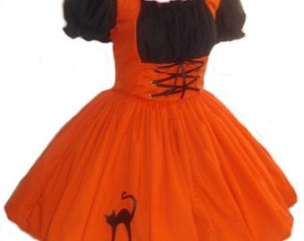 Witch  Halloween Costume Cute Witch Dress Pin Up Salem Witch  Womens Adult Orange Black Dress Custom Size including Plus Sizes Handmade