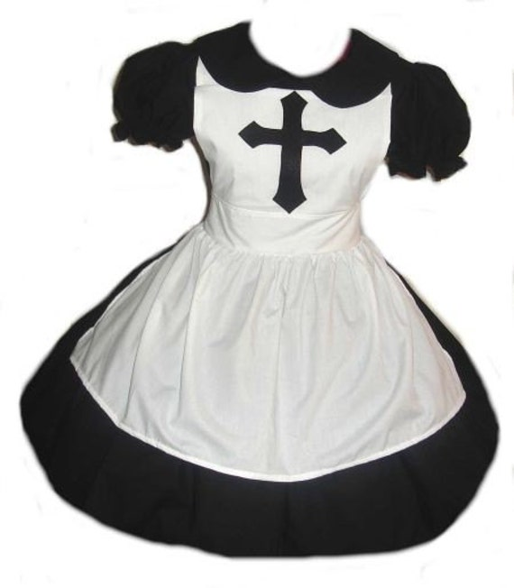 Goth Nun Gothic Lolita Cosplay Costume Halloween Black Dress White Apron High Quality Handmade Womens Adult Custom Size including Plus Sizes