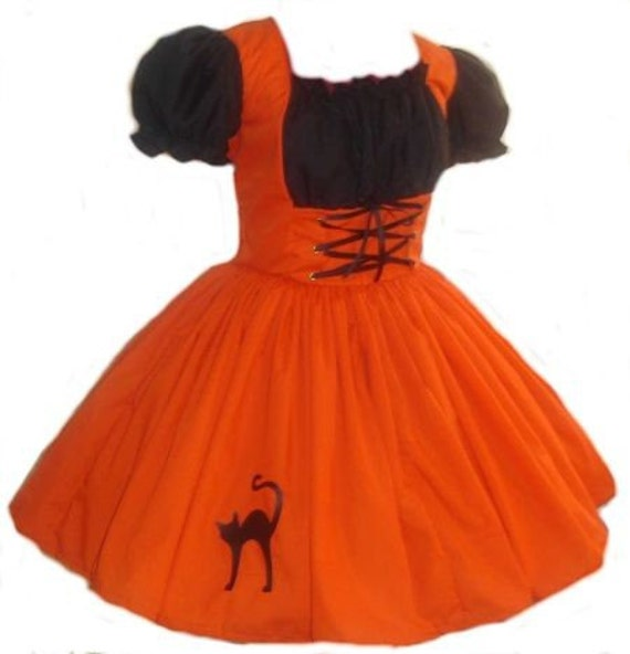 Orange Witch Halloween Costume Dress Orange and Black Costume with Cat Applique Cute Kawaii Custom Size