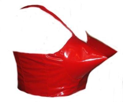 Red Vinyl Bullet Cone Bra Corset Top Rockabilly Custom Size
