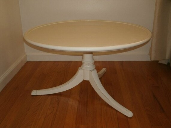 Shabby Chic Round Coffee Table By Simplywhitevintage14 On Etsy