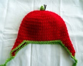 Crochet Toddler Giving Tree Apple Ear Flap Hat in Apple Red