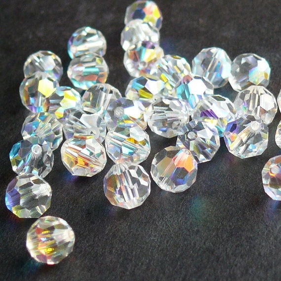 Swarovski Crystal Beads, 5000 6mm faceted round, Crystal AB, 20 beads, LAST ONES