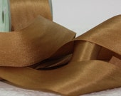 "Antique Gold Silk Ribbon by the yard, 1.25"" wide, DIY Weddings, Bouquets, Silk Trim, Bridal Sashes, Gift Wrapping, Jewelry, Party Supplies"