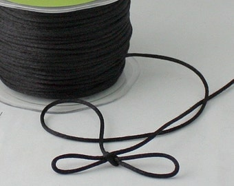 """Black Satin Necklace Cording, 1/8"""" wide by the yard, Black Satin Cord, Jewelry Supplies, Weddings, Black Macrame Cord, Gift Wrapping, Sewing"""