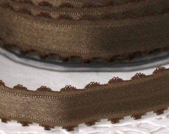 "Brown Satin Ribbon,Scalloped Edge, 5/8"" wide by the yard, Brown Ribbon, Satin Ribbon, Weddings, Gift Wrapping, Brown Satin Trim"