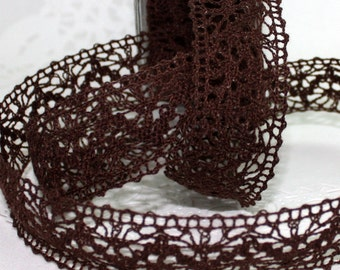 """Brown Crochet Lace Ribbon, 1.5"""" wide by the yard, Brown Lace Trim, Weddings, Gift Wrapping, Sewing, Lace Trim, Party Supplies"""