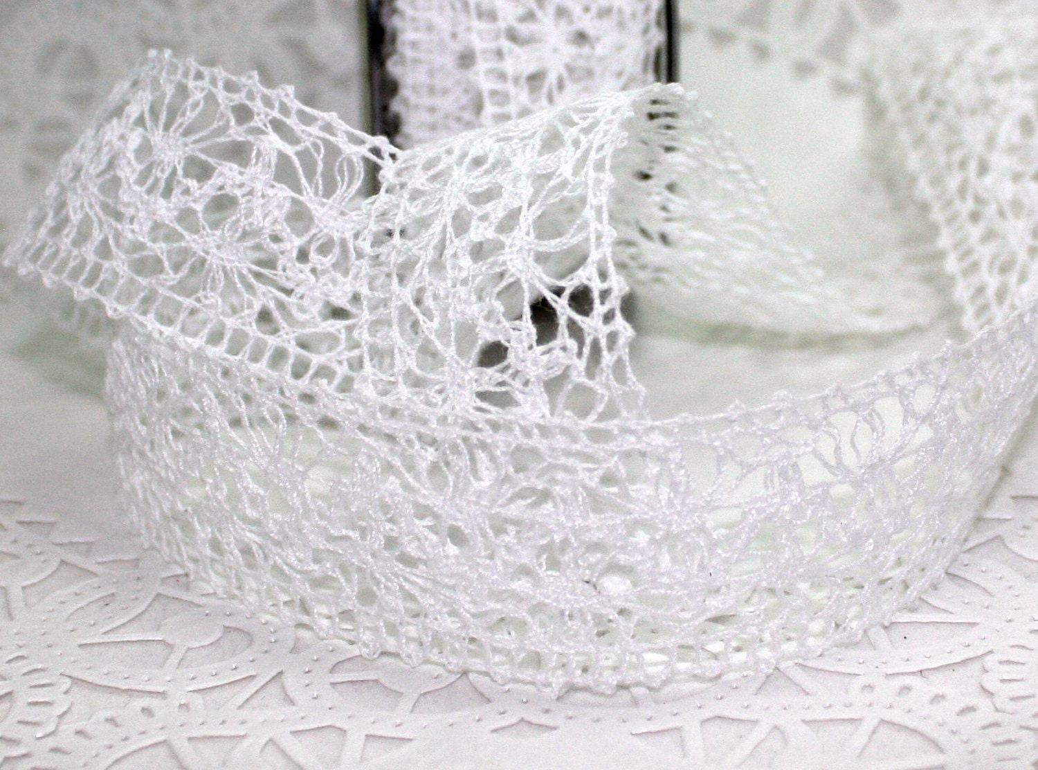 White lace apron wedding - White Crochet Lace Ribbon Lace Trim White Lace 1 5 Wide By The Yard Weddings Gift Wrapping Crafts Nursery Decor Sewing