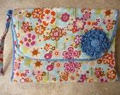Tri-Fold Modern Flower Print Diaper Clutch Bag with Wristlet Handle, Blue Grosgrain Ribbon Flower and Inside Zippered Pocket