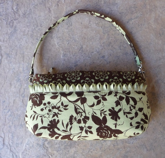 CONVERTIBLE 2 in 1 Wristlet and Shoulder Bag Purse with handmade beaded zipper pulls and handmade trim in Mint Green and Brown Cotton