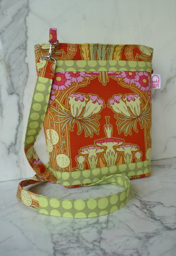CROSS BODY HIPSTER Purse in Amy Butler Soul Blossom Carmine Fuchsia and Lime Art Nouveau Print with Adjustable Strap and Zippered Pocket