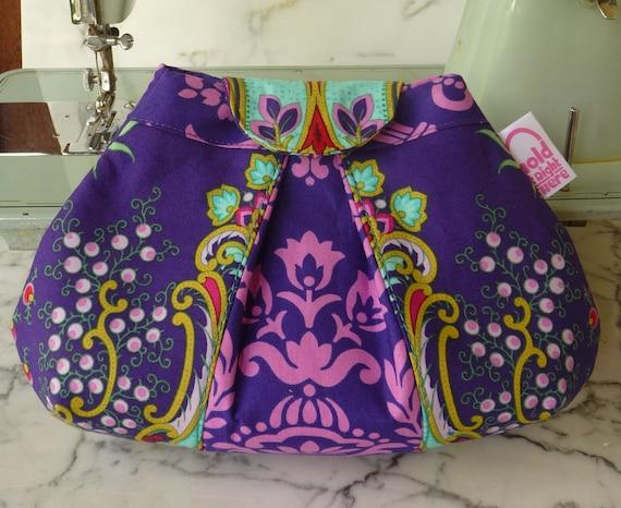 SMALL PLEATED CLUTCH - Peek-a-Boo Pleat Purse in textile designer Jennifer Paganelli's purple cotton Crazy Love fabrics