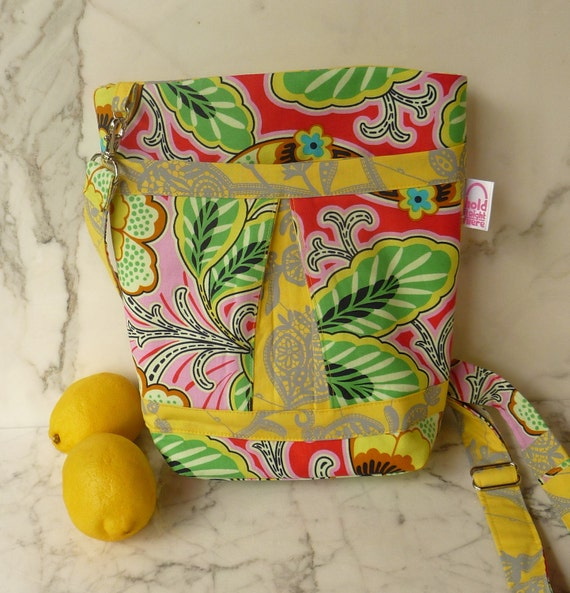 CROSS BODY HIPSTER Purse - Pleated Lemon Yellow and Green Floral Couture -  Amy Butler Lark Collection Cotton Fabrics