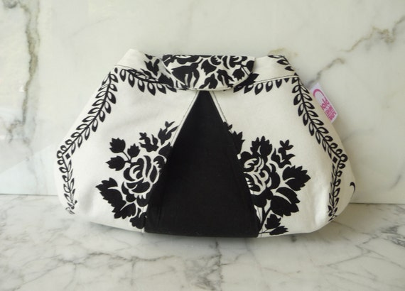 SMALL PLEATED CLUTCH  Peek-a-Boo Pleat  purse in textile designer Jennifer Paganelli's black and white floral cotton Bellbottoms print