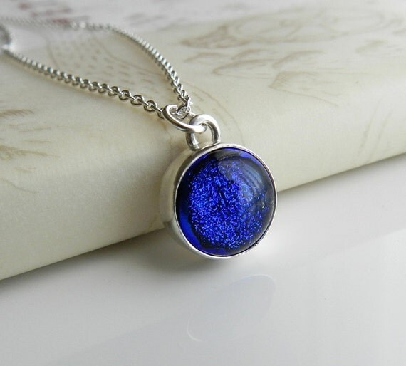 Blue Glass Necklace, Dichroic Glass and Sterling Silver, Back to Basics
