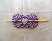 Royal Purple and White Lace Heart Stick Hair Barrette - Machine Embroidered