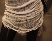 White Shredded Deconstructed Layering Tank Dress