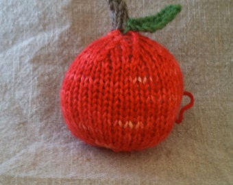 Knitted Apple Ornament - Fall, Harvest, Thanksgiving, Christmas, Back to School