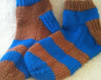 Socks - Handknit Socks - Ankle Socks - Blue  and Bronze - Ravenclaw