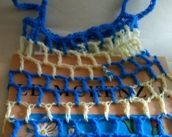 String Bag - Blue & Yellow Stripes - Market Bag - Stretchy - Expandible - Beach Bag - Mesh Bag - Gift Bag