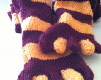 Toe Socks - Burgundy and Gold - Stripes  - Handknit - Gryffindor - Made to Order