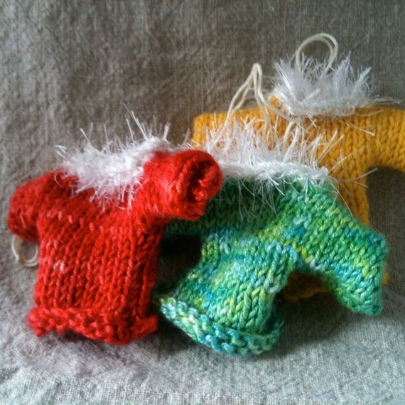 Set of 3- Mini Sweater Ornaments - Knitted