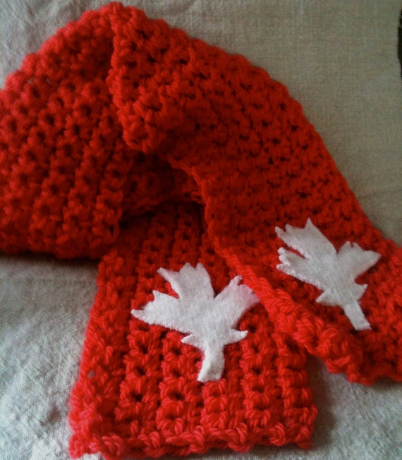 Canada Scarf - Red Maple Leaf Scarf - Red Scarf with White Maple Leaf - Canadian Scarf  - Ready to ship